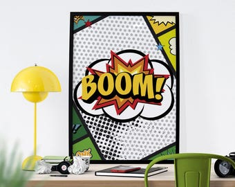 Digital file A3 - Poster - Comics - Boom, animation, illustration, decoration, room, child, teenager, gift, poster - A