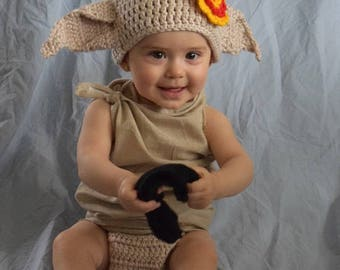 Dobby The House Elf Costume - Hat And Diaper Cover From Harry Potter For Girl With Gryffindor Bow- Halloween / Cosplay / Baby Shower Gift