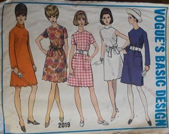 Vintage Vogue 2019 One Piece Dress, (Sz 12)