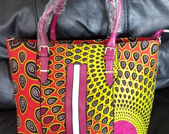 10% Discount use code BAGS10 - PETIZ Mixed PVC African Wax Print Bag. Available in big and small sizes