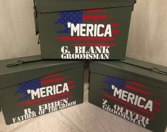 Personalized ammo boxes with color, personalized ammo box, best man, father of the bride, father of the groom, groomsman gift,