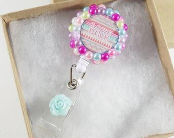 Love Pink VS badge reel. Badge holder. Tribal. Clip on. Bohemian. Boho. Bling. Lanyard. Pink. Retractable. Pearls. ID tag holder. Gift Ideas