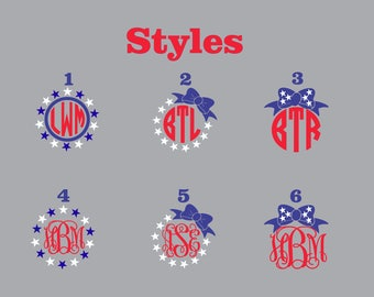 Red, White, and Blue Patriotic Monogram Decals