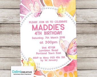 Butterfly Birthday Invitation - Butterfly Invitation - Butterfly Party Invite - Watercolor Birthday Invitation - Print Yourself Invitation!