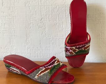 Handmade beaded 40s wedge slippers Red with leather bottom