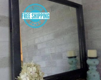 FREE SHIPPING - Rustic Country Single Pane Window Mirror by Lane of Lenore - Mirror -Wall Mirror - reclaimed window - painted mirror - Black