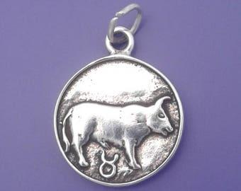 TAURUS Zodiac Charm .925 Sterling Silver, Astrology Symbol  Pendant - lp3510