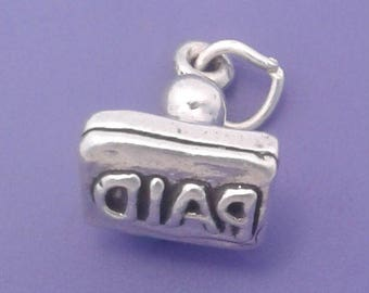 PAID STAMP Charm .925 Sterling Silver ACCOUNTANT, Office Worker Pendant - lp3953