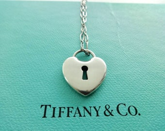 Authentic Tiffany & Co. Sterling Silver Larger Heart Keyhole Lock Necklace