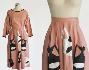 RESERVED RARE vintage pink raw silk two piece set / antique 1920s 20s style halloween costume theatre mask / high waist skirt pleated blouse