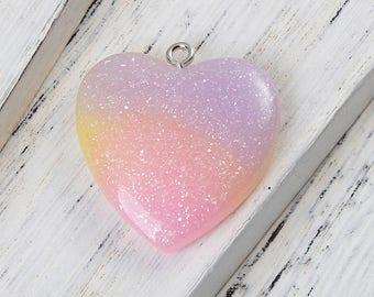 1 Glitter Resin Heart Charm Purple Yellow Pink Heart Pendant Large Heart Shaped Charm 4398