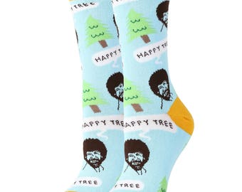 Design Socks for Bob Ross Happy Tree / Beauty Socks / Oooh Geez Socks