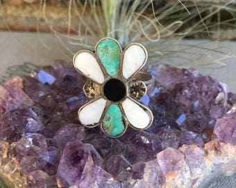 Vintage Zuni Inlay Turquoise and Sterling Ring, Statment Ring