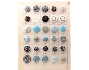 Original sample card 29 vintage Czech hand molded glass buttons 1972-44