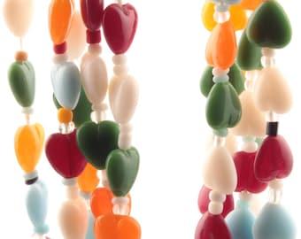 Lot (5) vintage Czech necklaces multicolor heart glass beads A951-1