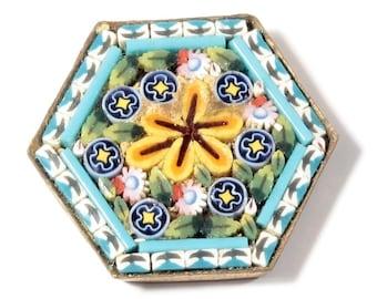 Vintage hexagonal gold tone Italian Micro Mosaic floral glass jewelry element B313-49