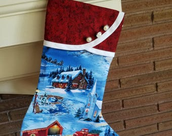 Christmas Stocking with Old-Fashioned Outdoors Christmas Print