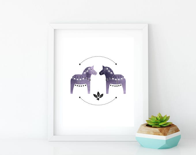 Purple Dala Horse Art Print, Instant Digital Download