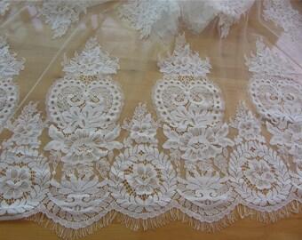 """1yard/3Yards*59"""" white eyelash lace fabric  , Chantilly Eyelash Lace Fabric in white  for Wedding Gowns, black eyelash lace fabric-LSM3L0096"""