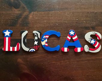 Superhero Wooden Letters - Superman, Ironman, Captain American, Hulk, Spiderman