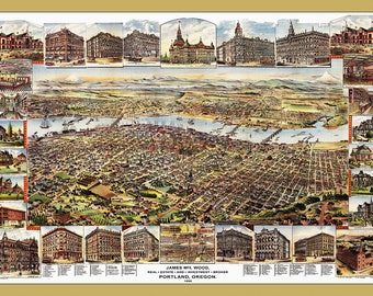 PORTLAND Oregon Map, Portland Map, Oregon Map, Portland,  Vintage Map, Antique Map, Bird's Eye View Map