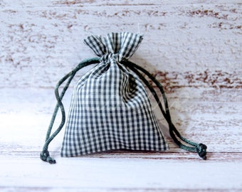 Green gingham country fabric bag 3x4 inch set of 6 cloth favor or gift bags  great for jewelry, tooth fairy, treats and more