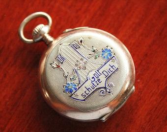 Antique Ladies Sterling Silver Pocket Watch - Enamel, Ornate Pendant Watch
