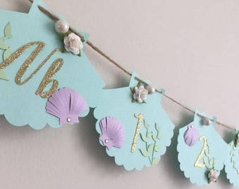 Milestone picture banner, mermaid themed 12 month banner