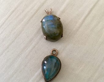 Two vintage Sterling with Gorgeous Labradorite Stones Pendants.