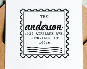 "Vintage Address Stamp, Custom Address Stamp, Return Address Stamp, 2.5x2.5"" Wooden Stamp"
