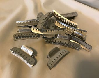 Vintage Alligator Metal Hair Clips 10 large 3 small 1960s