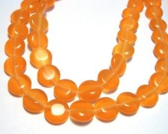 1 Strand Red Orange Cat's Eye Glass Beads 8mm Flat Round