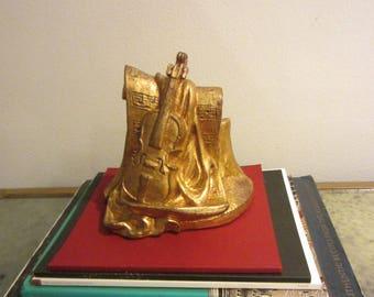 Golden Violin Chalk Ware Music Inspire Sculpture