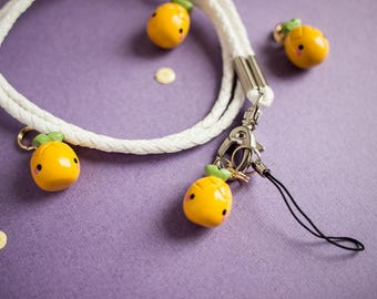 Cute Yellow Pineapple with White Phone Lanyard - Pineapple Charm with White Keys Lanyard - Pineapple Polymerclay Charm