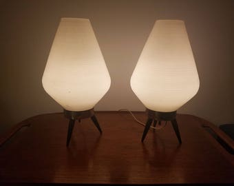 Atomic Beehive Lamp Tri Legged Lamp, Mid Century, White Pair