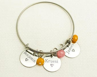 Grandmother Bracelet, Mother Bangle, Mommy Jewelry, Mom Bracelet, Child Name Bracelet, Grandchildren, Birthstone Bangle