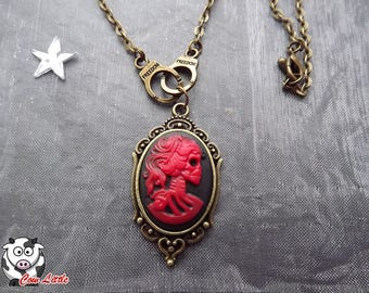 Cuffs and Red skeleton woman cameo bronze necklace