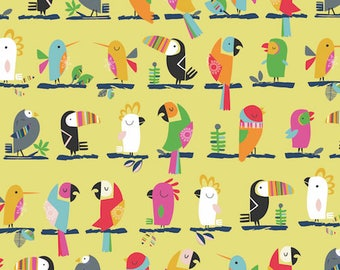 Fabric - Dashwood studios - Club Tropicana, birds - medium weight woven cotton fabric.