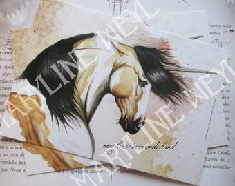 x 1 horse Unicorn sands postcard