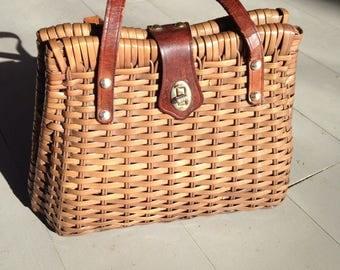 Vintage Basket Weaved Handbag/ Purse 70's