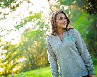monogrammed sweater, monogrammed sweatshirt, monogrammed quarter zip, personalized sweater