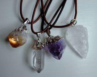 Crystal Choker Necklace, Crystal Quartz, Citrine, Amethyst, Leather Cord