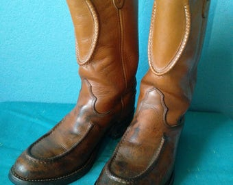 Vintage Double H cowboy engineer boots mens brown leather size 9D Made in USA.