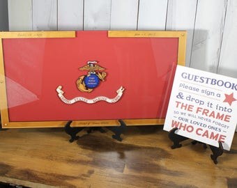 Personalized Guest Book/Flag/Marines/Army/Navy/Patriotic/Large/Military/Retirement/Guest Book/Wood Shape/Alternative/Stars/Free Shipping USA