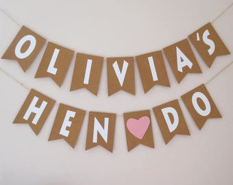 Personalised hen do bunting, Hen party decorations, Bridal shower decorations
