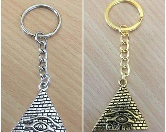 Egyptian Pyramid Keyring | Eye of Horus Pyramid Keychain | Eye of Ra Keyring | Egyptian Keyring | African Pendant Accessories