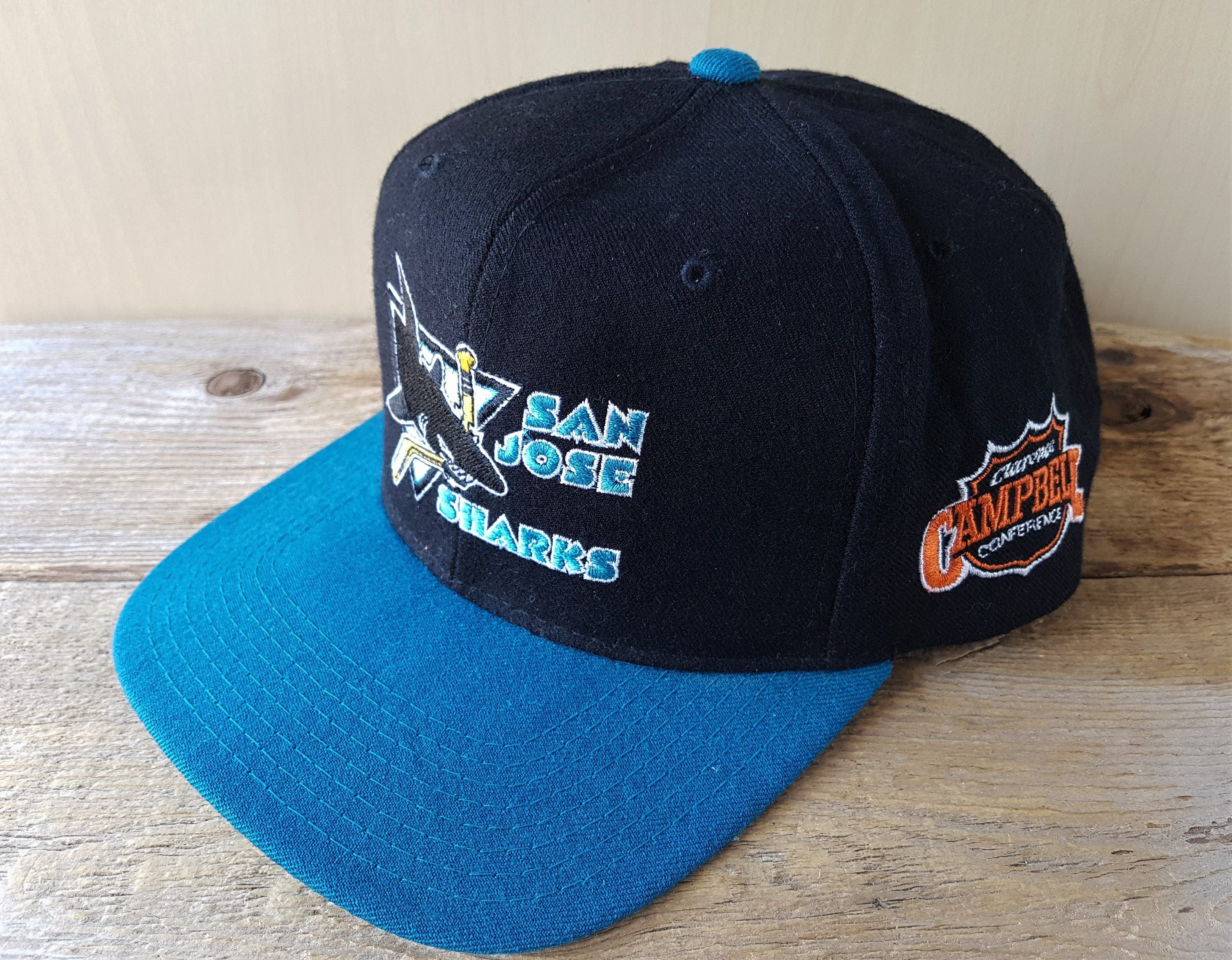 12029c71 ... shopping san jose sharks vintage 90s starter snapback hat official  licensed nhl clarence campbell conference baseball