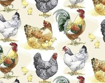 Barnyard Chickens - Cream 42908-1 by Windham Fabrics Cotton Fabric Yardage