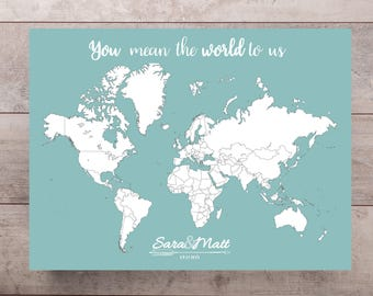 Map guest book Etsy