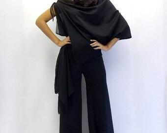 SALE 15% OFF Black Jumpsuit, Black Asymmetric Jumpsuit, Plus Size Jumpsuit TJ01 by Teyxo